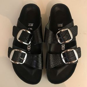 leather embossed Birkenstocks with big buckles